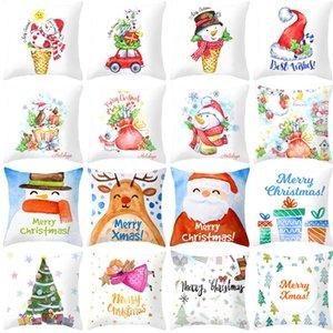 2020 Christmas New Peach Skin Velvet Pillow Case Cartoon Printing Sofa Cushion Cover Pillow Cover