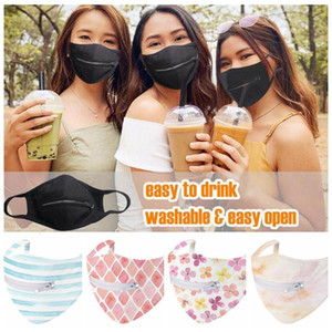 Zipper Mask Creative Zipper Face Mask 6 Colors Zipper Design Easy to Drink Washable Reusable Covering Protective Face Masks