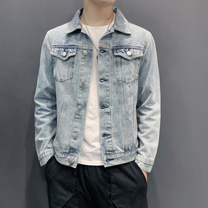 Fashion Denim Jacket 2020 Fall Men's Slim Retro Trend Lapel Solid Color High Quality Casual Plus Size Lapel Neck Jacket 5 Styles Size M-5XL