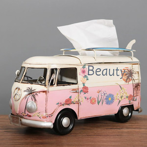 Retro Car Tissue Boxes Multicolor Flower Bus Model Organizing Boxes Decorative Napkin Holder Home Decorative Tissue Paper Box