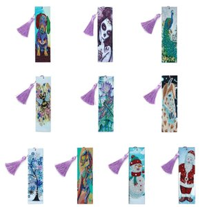 OOTDTY Beaded Bookmarks with 5D Diamond Painting Christmas Gifts Special Shaped Diamond Painting Leather Bookmark Tassel Book