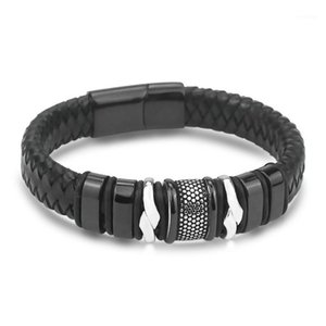 Trendy Stainless Steel Magnetic Clasp Bracelets Mens Accessories Hot Sale Leather Bracelets Wholesale Jewelry Christmas Gifts1