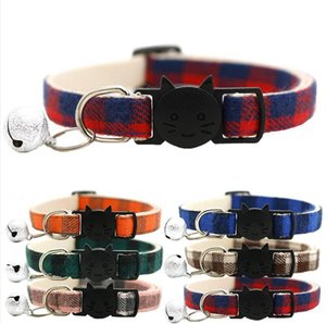 Pet Collar Christmas Snowflake Necklace Durable Nylon Material Plaid Fabric With Bell Pet Collars Christmas Pets Decoration LJJP597