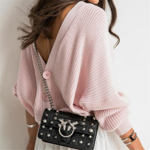 Sexy open back button sweaters women jumper oversize sweater women casual loose drop shoulder sweter lady office jersey mujer
