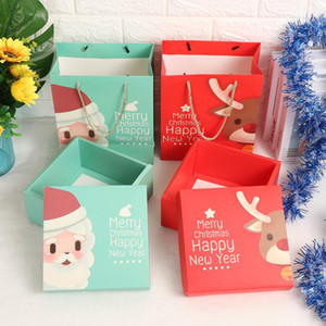 1PC Merry Christmas Kraft Paper Bags Boxes Xmas Paper Gift Wrapping Package Bags New Year Holiday Decoration Party Supplies