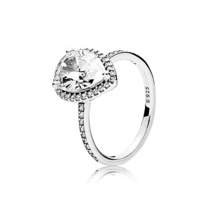 Real 925 Sterling Silver Tear drop CZ Diamond RING with LOGO and Original box Fit Pandora Wedding Ring Engagement Jewelry for Women