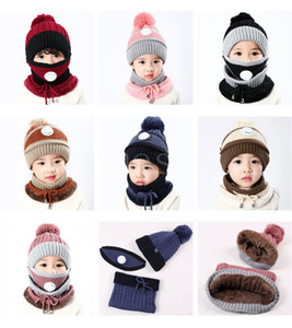 2021 Outdoor Cycling knitted Hats Autumn Winter Knitted Hat With Breathing Valve Mask Thickened Warm Cap 3 in 1 kids Hat DB102
