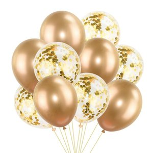 12 18inch Rose Gold Heart Star Metallic Latex Balloons Helium Confetti Balloon For Wedding Kids Birthday Event Party Decoration