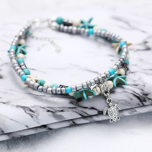 Boho Ethnic Antique 2 Layer Ankle Bracelet Cute Starfish Cuckold Halhal Foot Chain For Women Summer Beach Jewelry Tornozeleira ps1820