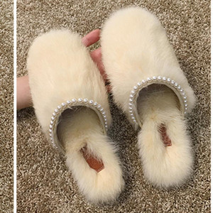 Winter Fairy beads fur mules femme furry slides 2020 cozy warm plush shoes for women sandals pearl cover toe fur slippers women