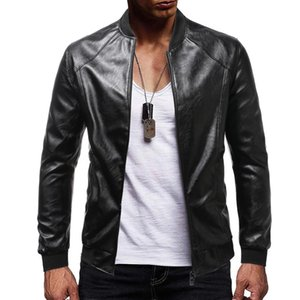 Faux Fur Coat Men 2020 New High Quality Men's Solid Color Stand Collar Zipper Motorcycle Slim Long Sleeve Men's Leather Jacket