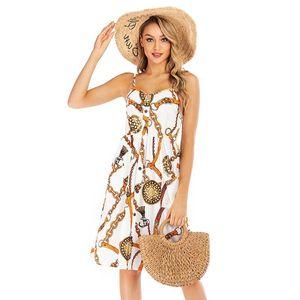 Womens Designer Large Size Chiffon Sexy Floral Suspender Skirt Female Summer Slim Print Jumpsuit Dress