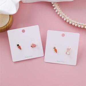 Kore 925 Gümüş İğne Havuç Earrings ins Beyaz Pembe Asimetrik Küpe