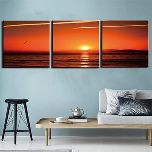 3 Panel Canvas Painting For Living Room Wall Art Prints Ocean Sunset Scenery Paintings Pictures Artwork For Office Bedroom Wall Decorations