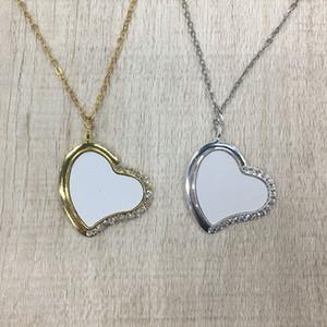 Liebe Herz Geformte Anhänger Halskette Kreative Metall Persönlichkeit DIY Geschenk Sublimation Leere Kette Mode Halsketten Frauen Weihnachten 9HY K2B