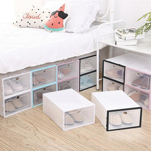 6PCS Stackable Shoes Box Thickened Transparent Shoes Storage Case Plastic Shoe Container for Men Women Q0120