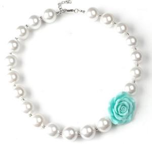 12 Renkler 42mm Reçine Çiçek 16mm Saf Beyaz Inci Boncuk Strand Kolye Çocuklar Kız Doğum Günü Partisi Parti Giydirme Pearl Jewelry1