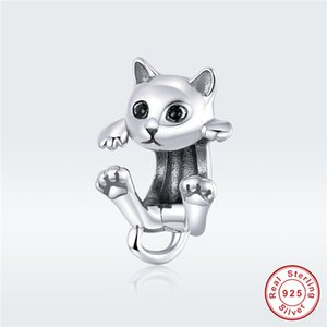 fit Europe bracelet cute cat 100% 925 sterling silver kitten animal Bangle beads female DIY fashion gift charm jewelry making Y200918
