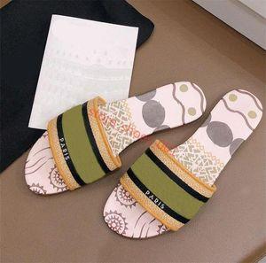 luxury Design Leather Ladies Sandals Summer Flat Slipper fashion beach woman Cartoon Big head Slipper Rainbow letters slipper