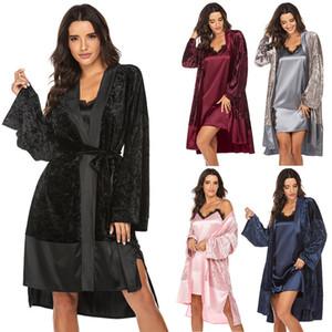 Сплошные цветные женские халаты кружева лоскутная повязка кардиган с длинным рукавом V-образным вырезом домой одежда весна осень теплые женские спящие одежды