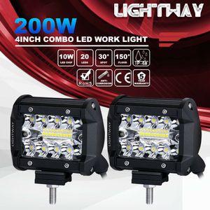 2pcs 4inch 200W CREE LED Work Light Bar стручки заподлицо Combo вождения лампы 12V 6000K 20000LM для вождения Offroad лодка автомобиль