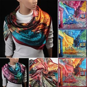 Gogh Famous Oil Painting Coffee House Alley Satin Silk Scarf Ladies Large Square Scarves 90cm