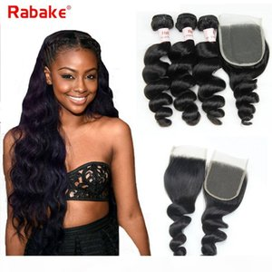 Remy Brazilian Sliply Wave Bandetti per capelli umani con Top Chiusura in pizzo 1b Rabake 9A Cuticola brasiliana Allineata Capelli Allineati Wefts Silk Lace Wave Wave