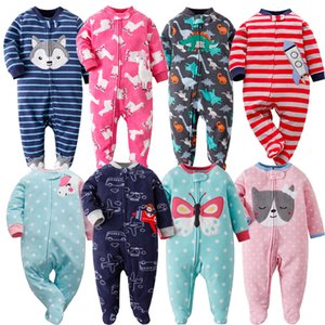 Pyjamas Zipper Fleece Neugeborene Body Warmer Winter Unterwäsche One Piece Overalls Baby-Einhorn Infants Clothes