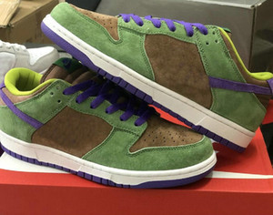 Dunk Sb Pro QS SP bassa impiallacciatura Autunno Green Deep Purple Sb Man Skate Scarpe da uomo Skateboard Scarpe da sneakers US 5-11