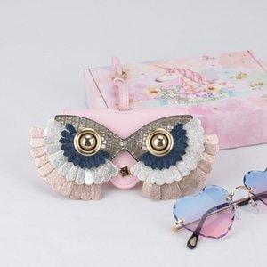 2020 Spectacle cuir Lunettes de soleil Cas mignon de bande dessinée masque Removeable Lunettes de soleil Sac lunettes boîte en cuir PU étui à lunettes