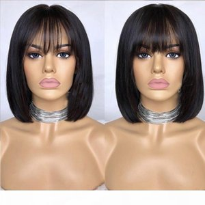 Light Bangs Human Hair Bob Wig Pre Plucked Glueless Full Lace Wigs With Baby Hair Peruvian Virgin Lace Front With For Black Women