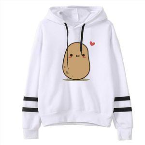 Girls Hoodies Cute Potato Printed Fashion Women Casual Loose Long Sleeve Striped Print Sweatshirt Tops Blouse