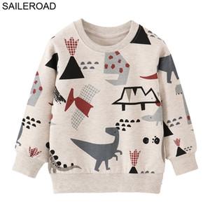 Saileroad Children's Roupas Algodão Bebê Camisolas para Outono Crianças Roupas Dinossauro Meninos Meninos Outerwear Traje 201222