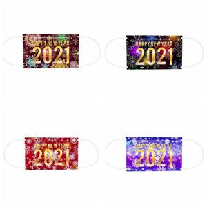 Маски для взрослых лица 3 Layered Одноразовые маски Happy New Year Печать Mouth Обложка пыле дышащий Защитная маска одноразовая маска AHC3439