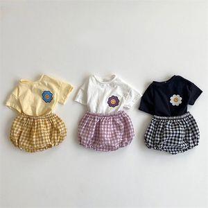 MILANCEL 여자 소년 해바라기 티 체크 무늬 bloomer 의류 세트 쌍둥이 신생아 아기 옷 201022
