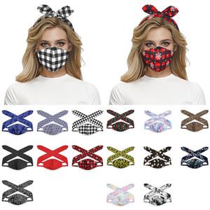 2'de 1 Maske hairband Çok fonksiyonlu Koruyucu Yüz Maskeleri Moda Kafa Lady Kız Saç Aksesuarları XD24039
