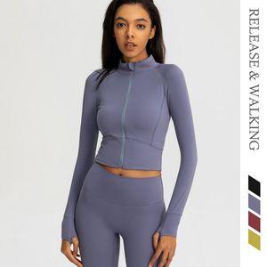 R&W Sports Sweater Women Zipper Tight Fitness Yoga Jacket Running Autumn Sexy Autumn Short Breathable Tops 80% Nylon Jackets