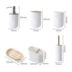 GOALONE Bamboo Toothbrush Holder Soap Dispenser Toilet Brush Set Bathroom Decoration Accessories 200923