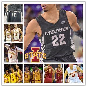 2021 ISU IOWA Eyaleti Siklonları Basketbol Özel Rasir Bolton Tyrese Haliburton Solomon Young Prentiss Nixon Michael Jacobson Sewn Jersey 4XL
