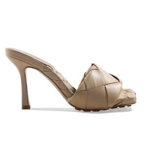 Zapatillas nupciales zapatos 2021 verano moda mujer sandalias tacones altos 9cm tejer sandalias de cuero color personalizado zapatos de mujer antideslizante