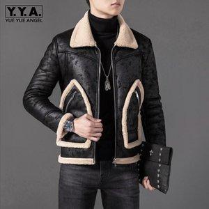 Winter Mens Fleece Lining Faux Suede Leather Jacket Pockets Slim Fit Motorcycle Shearling Coat Vintage Flight Jackets Plus Size