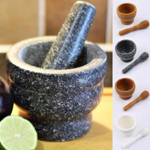 Pilão Grinder madeira branca Granite Grinder Argamassa Grinding bacia Garlic Press Herb pimenta Mistura Pot Cozinha Ferramenta C1111