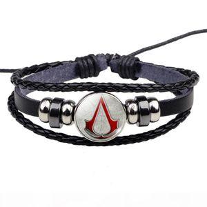 Assassin's Creed Bracelet Hot Game Assassins Creed Design Geek Jewelry Men Women Black Leather Bracelet Game Lover Gift
