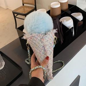 Sweet Girl Ice cream Crossbody bag 2020 Fashion New High-quality Wool Women's Designer Handbag Chain Shoulder Messenger bag
