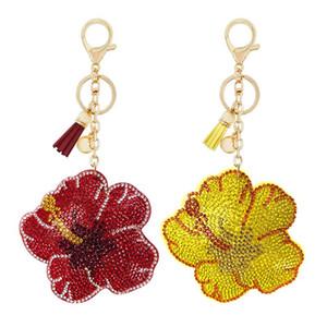 Korean flannel rhinestone keychain pendant creative flower tassel ornament bag car key ring accessories