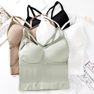 Soutien-gorge sport rembourré Fitness Yoga Courir recadrée Top femmes SportsWear Gym solide Débardeurs Athletic Push Up