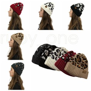 Women Leopard Print Knitted Beanies Fashion Outdoor Winter Warm Wool Knitting Hat Party Hats Supplies 5styles RRA3746