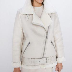 Fmfssom 2020 Winter Lamb Women Faux Leather Lambs Wool Fur Collar Pu Moto Zipper Jacket Warm Thick Outerwear