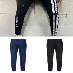 Eiaz New Jean Michel Slim брюки Basquiat Fit Jeans брюки мода черные печатные джинсы стрейч-карандаш мужские