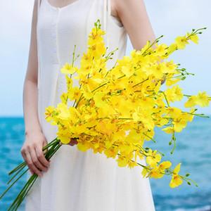 90CM 5 فرع زهرة الأوركيد الاصطناعي زهرة الحرير للديكور المنزل DIY الزفاف جارلاند غطاء الرأس الأصفر وهمية زهرة
